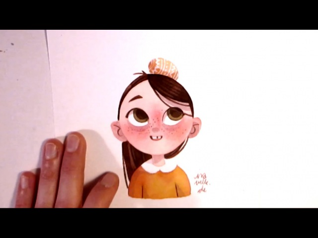 Character Watercolor Illustration experimenting with simple shapes without outlines by Iraville
