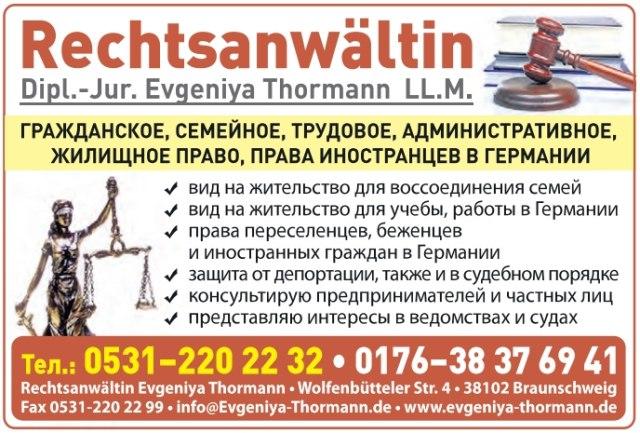 Rechtsanwältin Dipl.-Jur. Evgeniya Thormann LL.M.