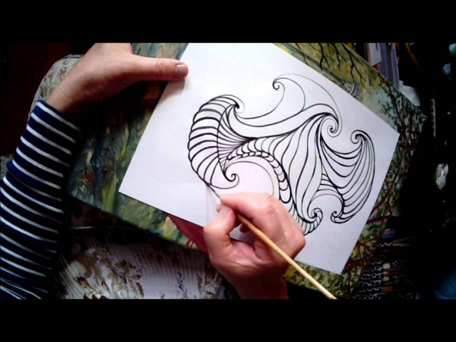 Zendoodle drawing Small brush free hand calligraphy