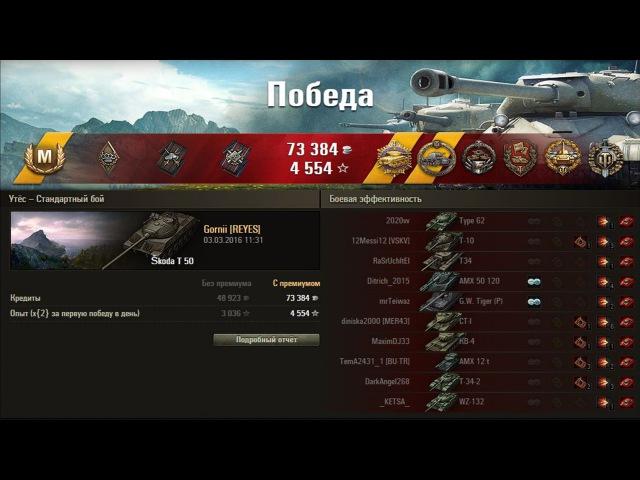 Skoda T 50. Хотел из кустиков подамажить,а пришлось слив вытаскивать! Лучший бой World of Tanks