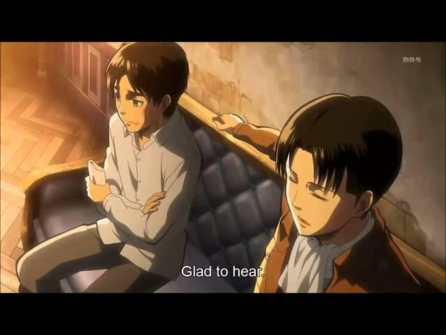 Shingeki no Kyojin 進撃の巨人 Eren after the trial with Levi Hanji and Erwin