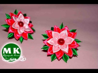 Мастер-класс Канзаши. Резинки для волос. Цветы из атласных лент/Flowers from ribbon.Scrunchy