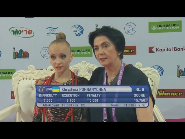 Khrystyna Pohranychna Rope Qual - European Championships Holon 2016