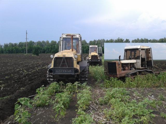 Вспашка паров двумя тракторами Т-404 и трактором Т-4А.01