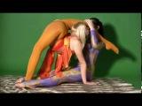 Две девушки делают растяжку , contortion, Flexible girl shows bending