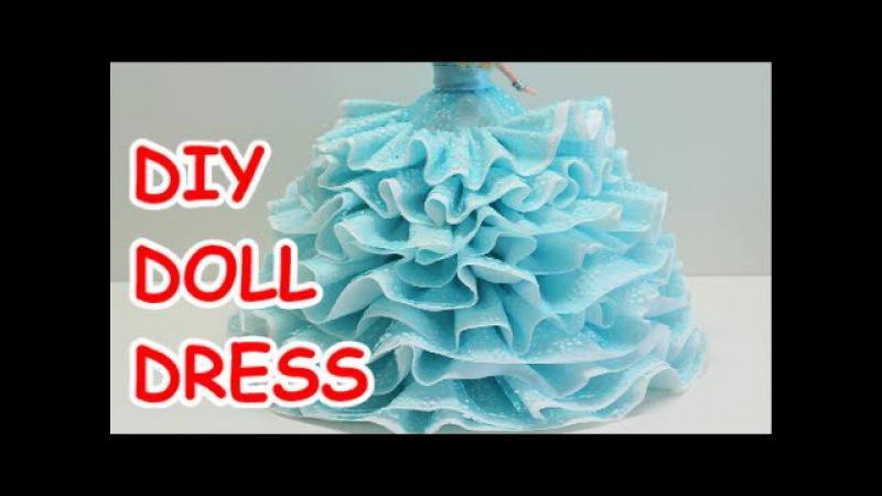 DIY Doll Dress Bath Tissue Ribbon and Plastic Bottle - Recycled Bottles Crafts