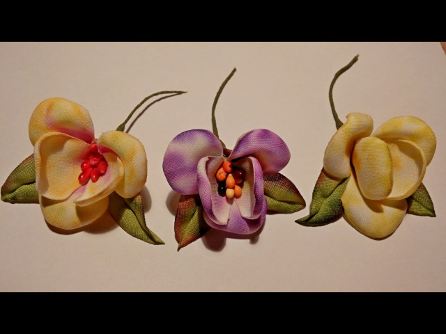 Fabric flowers tutorial /non-standard method of fabric dyeing /Цветы из ткани. Орхидея