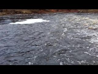 В деревне- Бракловицы, бурное течение реки