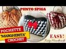 Tutorial uncinetto borsa Margherita - Punto spiga bicolore crochet pattern - Katy Handmade