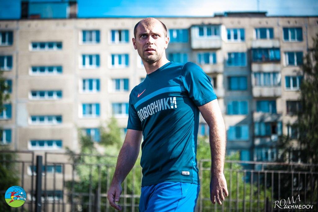 Андрей Фомишин по ходу поединка Бизоны - Поворники (14-й тур).