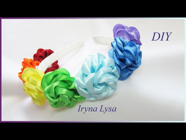 Обруч Квіткова веселка/ Канзаши из лент 2.5/ Kanzashi tutorial