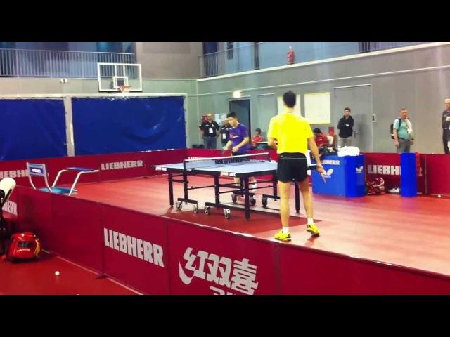 Zhang Jike, multiball drill with Xu Xin and Liu Guoliang