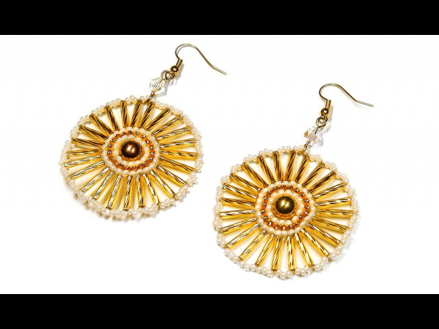 DIY Round bead earrings Круглые серьги из бисера мастер класс