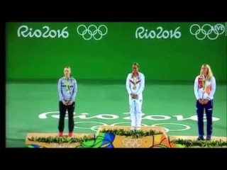 Puerto Rico's anthem being heard for the first time at the Olympics