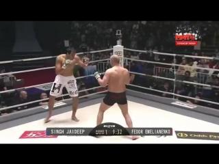 Федор Емельяненко vs Джайдип Сингх 31.12.2015, нокаут, первый бой после возвращения в MMA