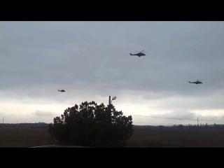 Подготовка референдума.  Российские военные вертолеты летят в Крым  27.02.2014