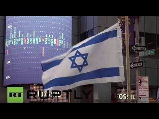 США: Вооруженные полицейские защиты произраильское демо в Нью-Йорке.
