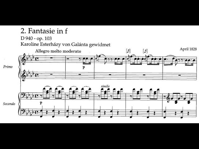 Franz Schubert - Fantasia for piano, 4 hands in F minor, D. 940