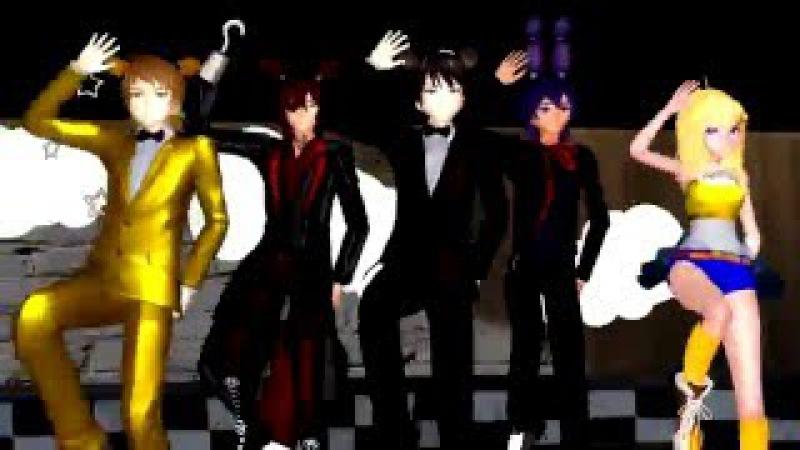 Run Devil Run FNAF x MMD Freddy, Bonnie, Chica, Foxy, and Fredbear