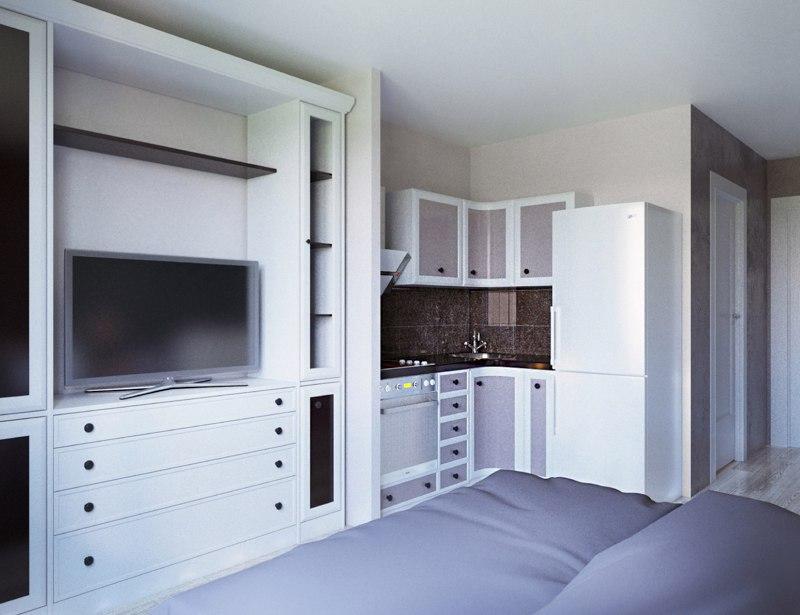 Проект маленькой студии 17 м от компании-застройщика Стройпромсервис, Рязань.