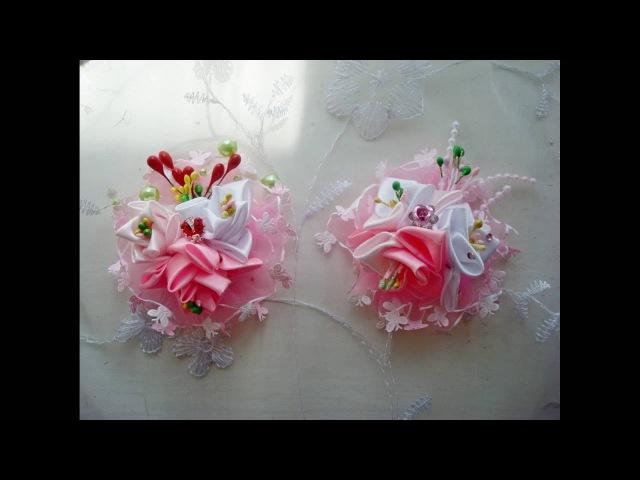 Мастер-класс 10 Розовое наваждение 2 Канзаши Резинки Зажимы для волос