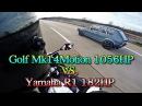 Vw Golf Mk1 1056PS vs Yamaha R1 182PS street race