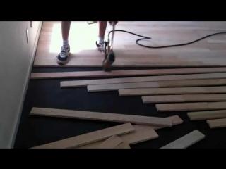 Массивная доска Красный Дуб быстрая укладка red oak floor installing