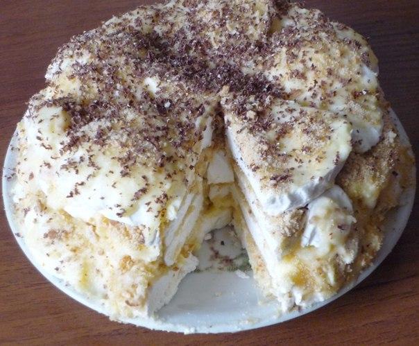 Торт из пряников и зефира со сметаной
