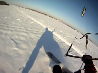 Snowkiting im Powder, incl. Crash, Flysurfer Speed2 12qm, Dez2010