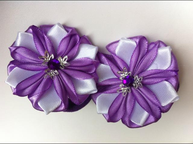 Украшение на резинку Канзаши Фиолетовые Цветочки