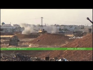 The moment of destruction to terrorists Army tank missile conquest of the Syrian army in the vicinity of the project in 1070 southwest of Aleppo