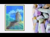 Видео урок Рисуем Мельницу Пастелью #Dari Art