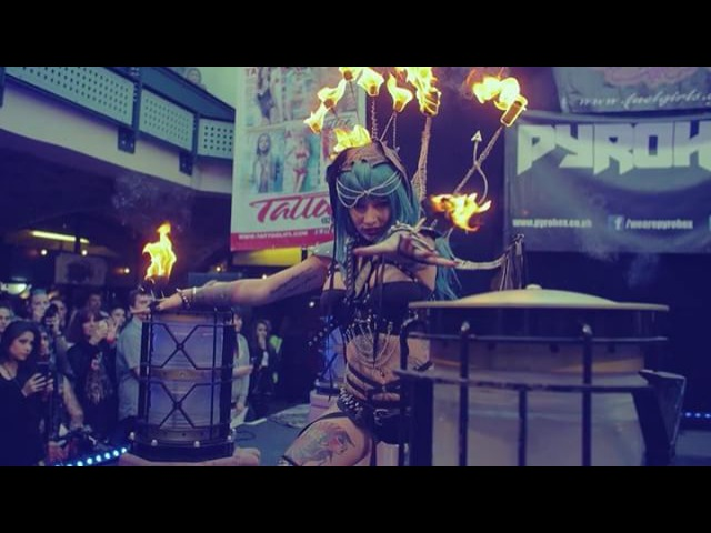 """Stephen Karcher on Instagram: """"@katsandcrows conjuring fire for the @pyrohexofficial show at the @londontattooconvention 2015 🔥😈🔥 rebeccacrow pyrohex firemage lvl666…"""""""