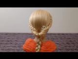Быстрая причёска самой себе с плетением косичек на средние и длинные волосы. Причёски в школу