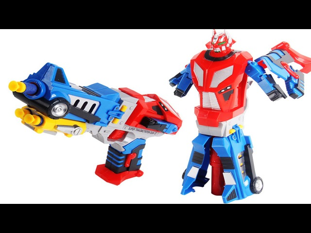 Transformer Optimus Prime. Video for children – unboxing set of toys. Soft Bullet Blaster Review