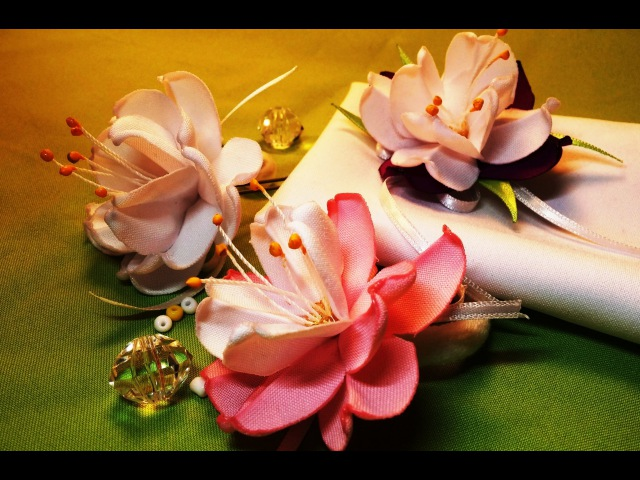 Fabric flowers make without glue tutorial Цветы из ткани обходимся без клея МК