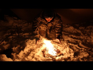 Зимний одиночный поход с ночевкой в укрытии \\ Tarp shelter winter overnight