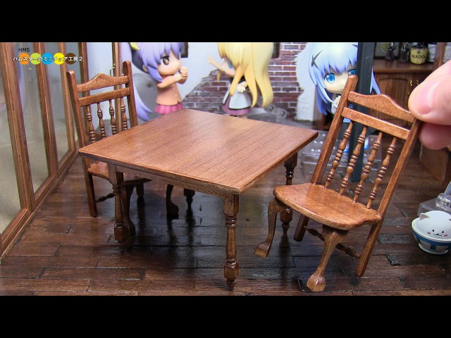 DIY Dollhouse items - Miniature Cafe Table and Chairs ミニチュアカフェテーブルと椅子作り