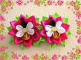 Цветочки с пчелками канзаши/Bees Kanzashi/DIY/Tutorial
