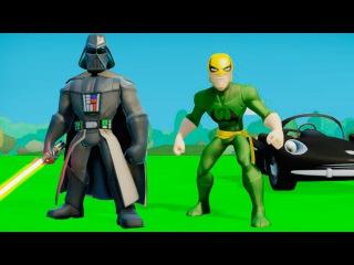 Мультик игра для детей про супергероев Железный Кулак и Дарт Вейдер - ГОНКИ машинки ТАЧКИ ДИСНЕЙ