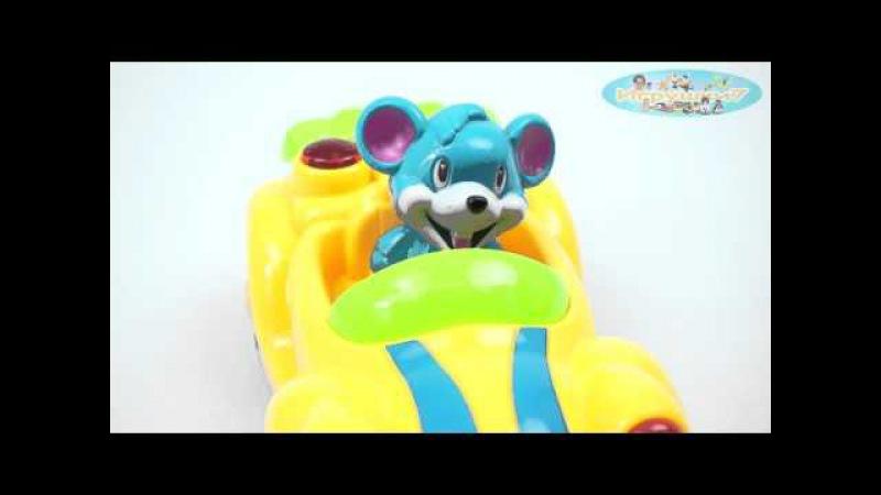 Мышонок на авто (машина) ZYА-А 0569 (60) 2 цвета, свет, звук, русская озвучка,в кор-ке