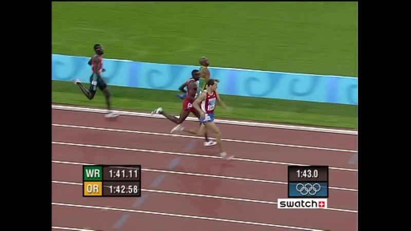 Легендарная победа Юрия Борзаковского 800m Olympic final - Афины 2004