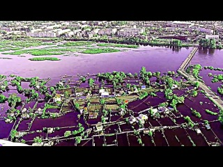 Наводнение Белогорск 2013 вид с вертолёта