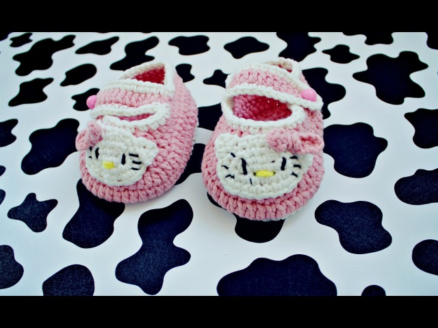 Пинетки крючком - Hello Kitty (часть 1) / Crochet booties (part 1)