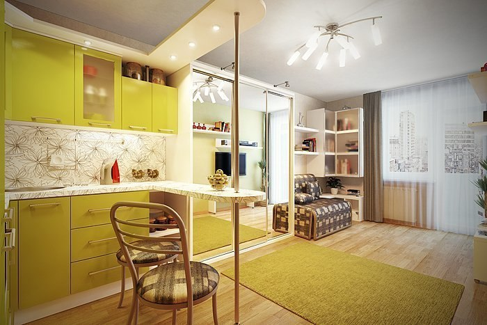 Кухня-студия дизайн интерьера в маленькой квартире