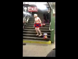 Naked Guy Racist Violent Rant On NYC Subway