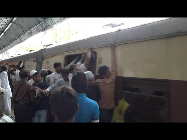 Overcrowded Local Trains in Mumbai, India