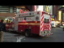 BRAND NEW FDNY RESCUE MEDICS / HAZTAC AMBULANCE RESPONDING WITH MAJOR AIR HORN AGAINST TRAFFIC.