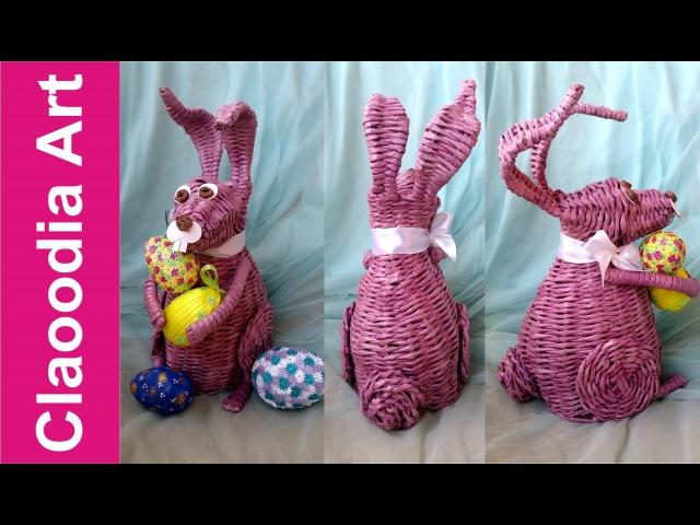 Królik zając z papierowej wikliny 1 rabbit bunny wicker paper