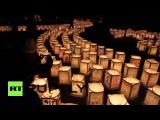 Япония: Фонарь освещения церемонии, состоявшейся для пострадавших от землетрясения.